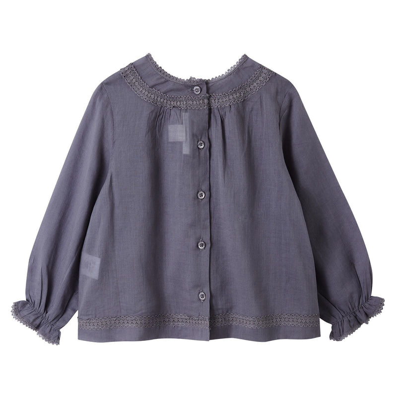 Baby Girls Grey Folk Blouse With Frilly Cuffs - CÉMAROSE | Children's Fashion Store - 2