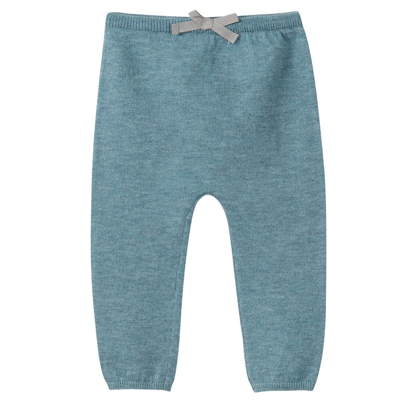 Baby Girls Misty Blue Knitted Legging With Bow Trims - CÉMAROSE | Children's Fashion Store - 1