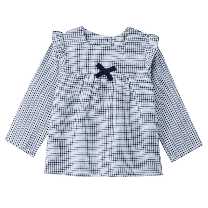 Baby Girls Blue Check Blouse With Bow Trims - CÉMAROSE | Children's Fashion Store - 1