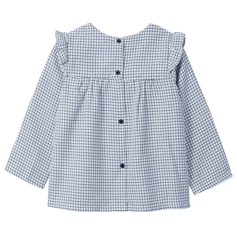 Baby Girls Blue Check Blouse With Bow Trims - CÉMAROSE | Children's Fashion Store - 2