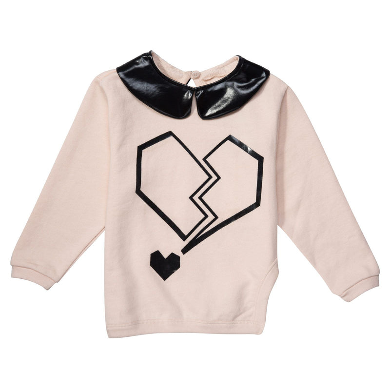 Girls Pink T-Shirt With Black Printed Collar - CÉMAROSE | Children's Fashion Store - 1