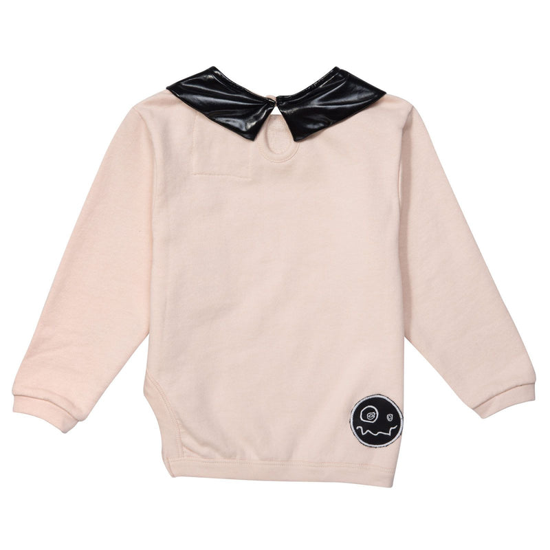 Girls Pink T-Shirt With Black Printed Collar - CÉMAROSE | Children's Fashion Store - 2