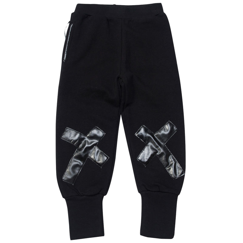 Boys&Girls Black Tight Cuffs Trouses With Black Printed Trims On Legs - CÉMAROSE | Children's Fashion Store - 1