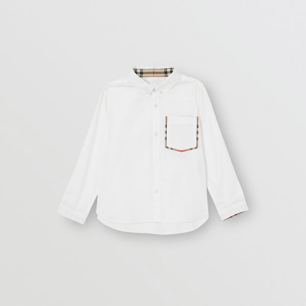Boys White Pocket Cotton Shirt
