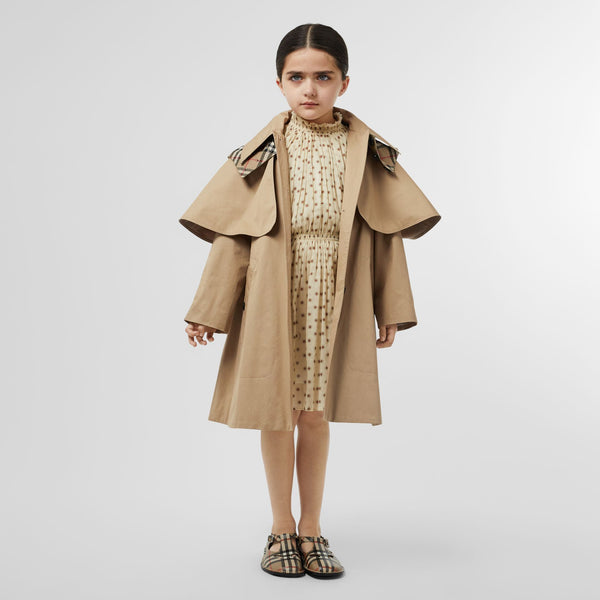 Girls Beige Hooded Cotton Coat