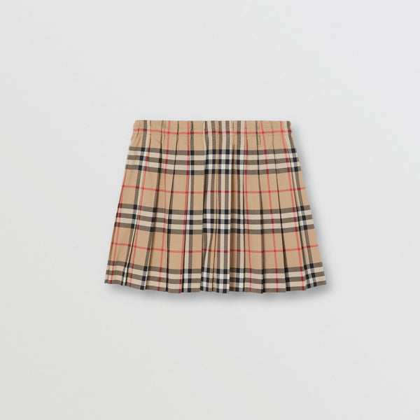 Girls Archive Beige Check Cotton Skirt