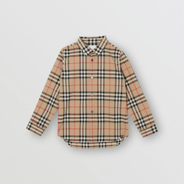 Boys Archive Beige Check Cotton Shirt
