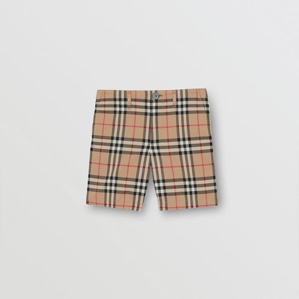 Boys Archive Beige Check Cotton Shorts