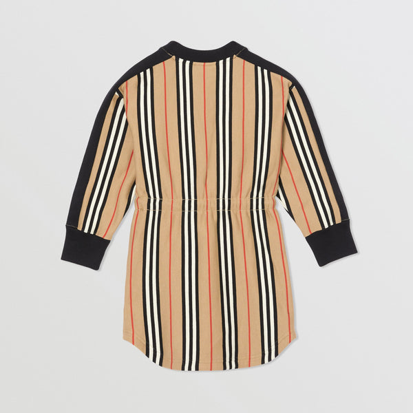 Girls Archive Beige Striped Cotton Dress
