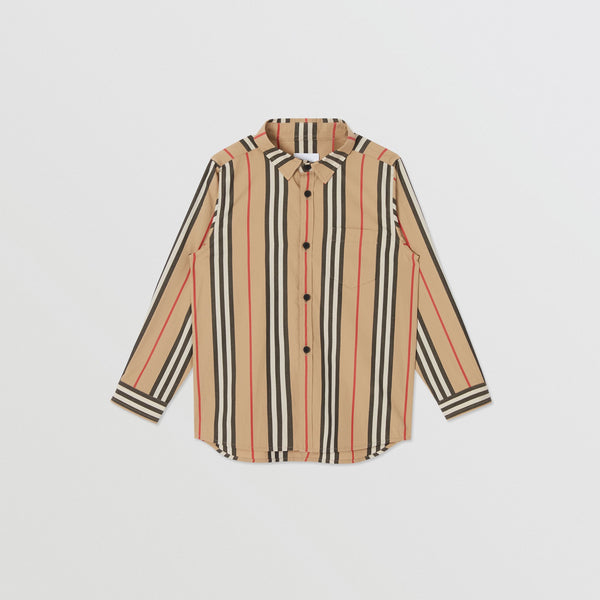Boys Archive Beige Striped Cotton Shirt