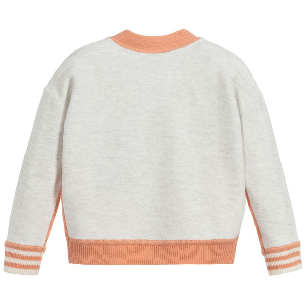 Girls Peach Logo Wool Cardigan