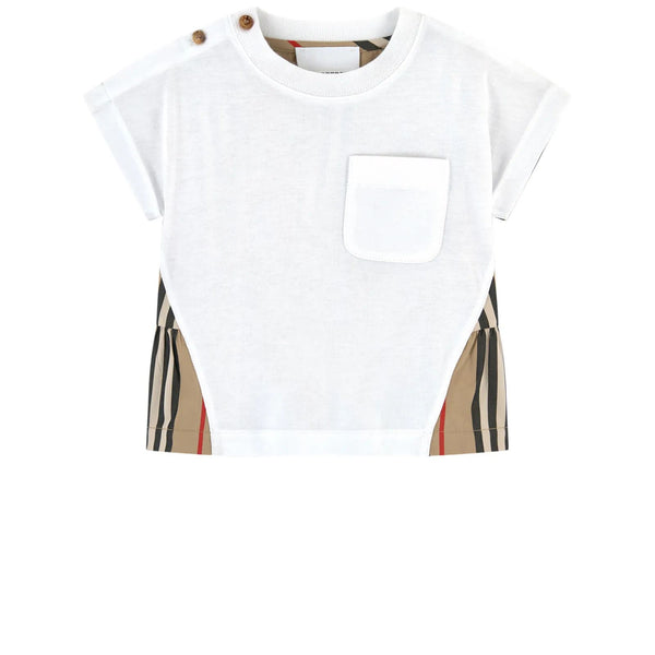 Baby Girls White & Archive Beige Cotton T-shirt