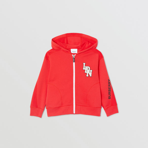 Boys Red Zip Cotton Sweatshirt