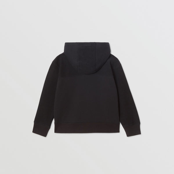Boys Black Zip Cotton Sweatshirt