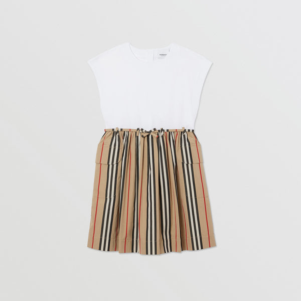 Girls White & Archive Beige Cotton Dress