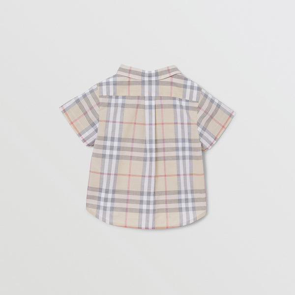 Baby Boys & Girls Beige Check Cotton Shirt