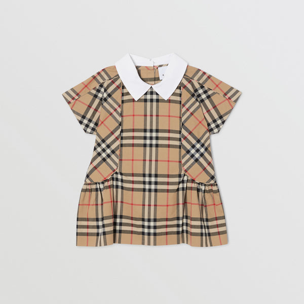 Baby Girls Archive Beige Check Cotton Dress