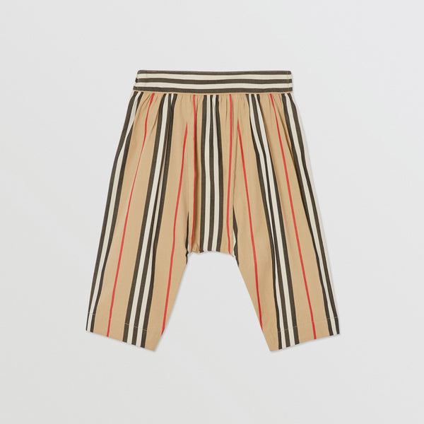 Baby Girls Beige Striped Cotton Trousers