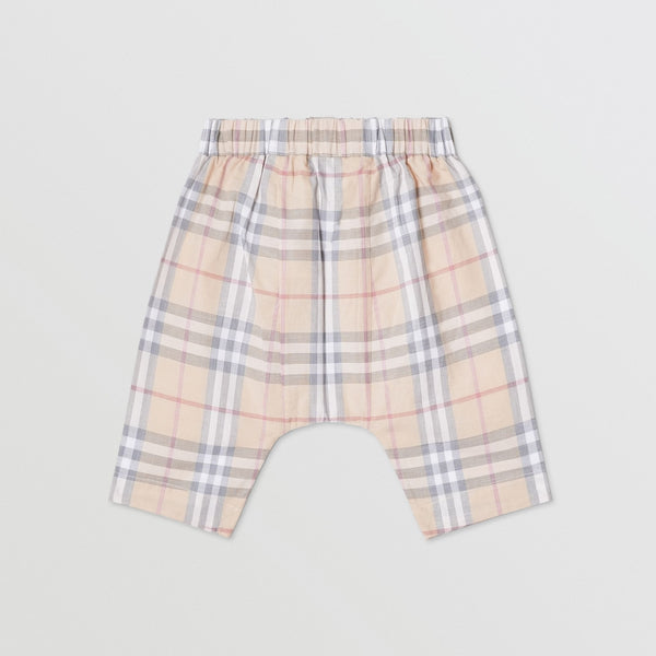 Baby Boys & Girls Beige Check Cotton Trousers