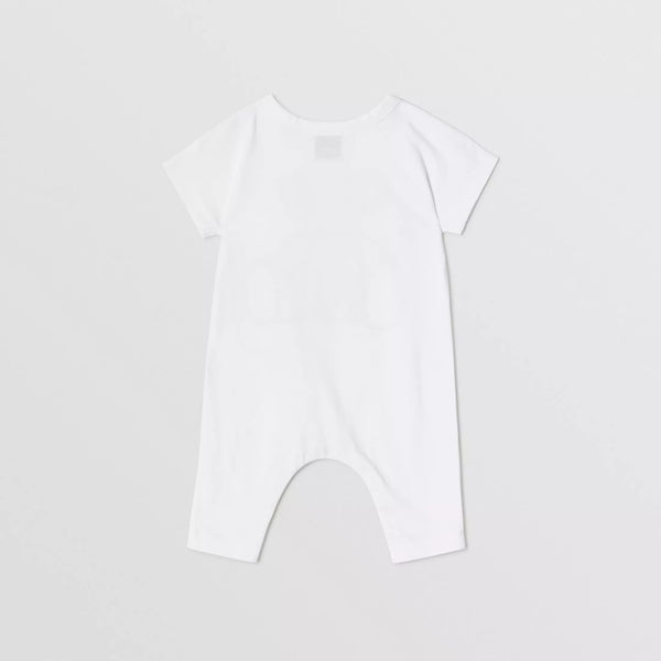 Baby Boys & Girls White Toy Cotton Babysuit