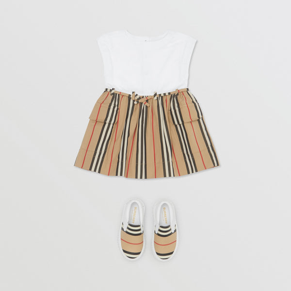 Baby Girls White & Archive Beige Cotton Dress