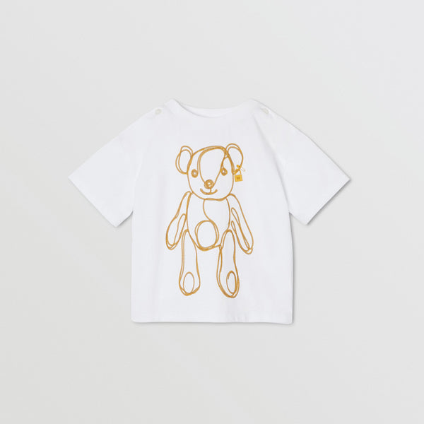 Baby Girls White Pattern Cotton T-shirt