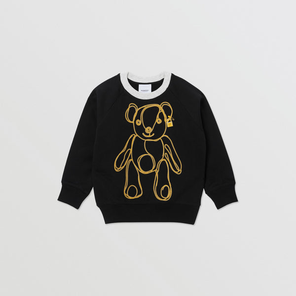 Girls Black Pattern Cotton Sweatshirt