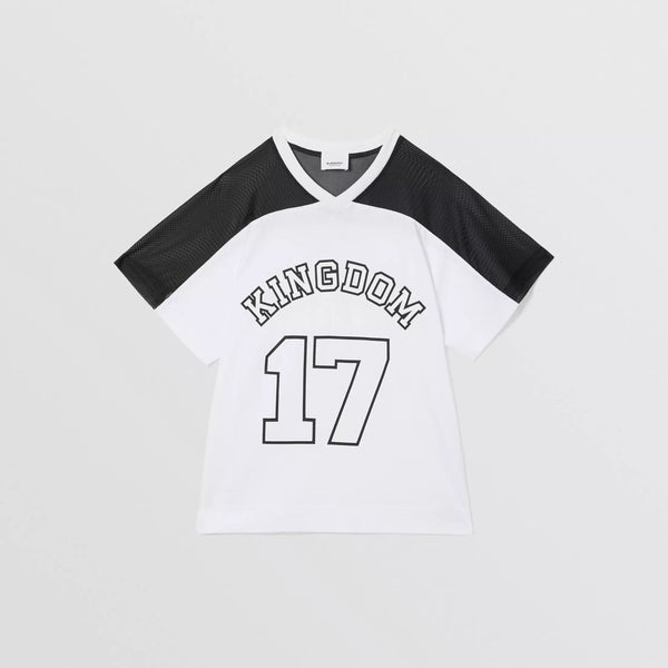 Girls Black & White Logo Cotton T-shirt
