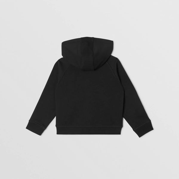 Boys Black Hooded Cotton Top