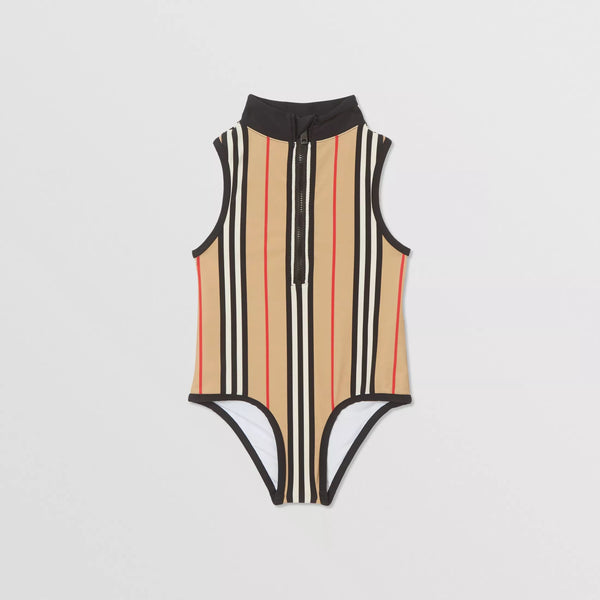 Girls Archive Beige Stripe Swimsuit