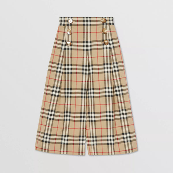 Girls Archive Beige Check Trousers