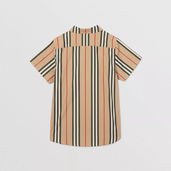 Boys Archive Beige Stripe Cotton Shirt