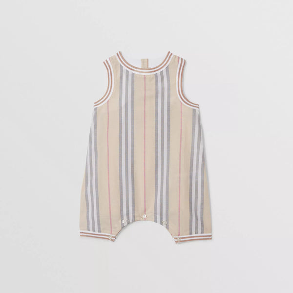 Baby Boys & Girls Beige Stripe Cotton Babysuit