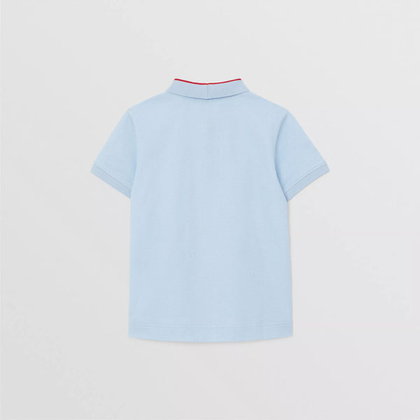 Boys Pale Blue Cotton Polo Shirt