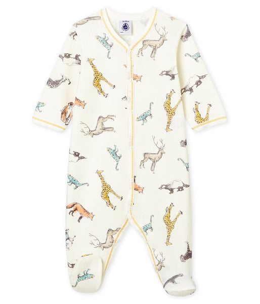 Boys White Printed Babysuit