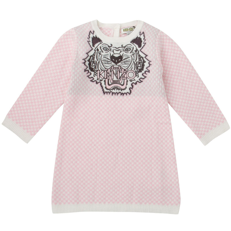Baby Girls Pink&White Tiger Embroidered Kintted Sweater Dress - CÉMAROSE | Children's Fashion Store - 1
