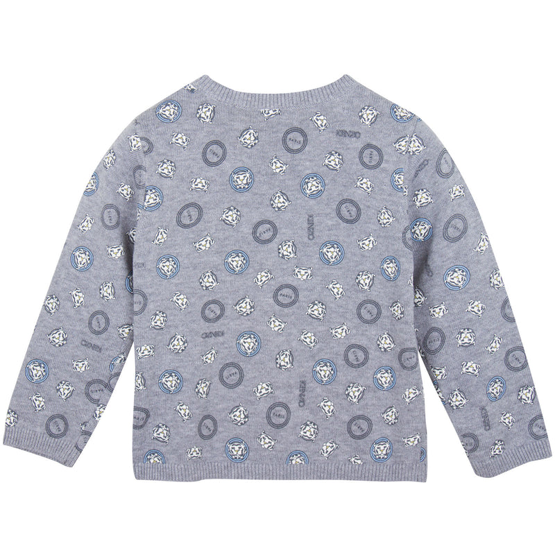 Baby Boys Grey Tiger Printed Cotton Knitted Cardigan - CÉMAROSE | Children's Fashion Store - 2