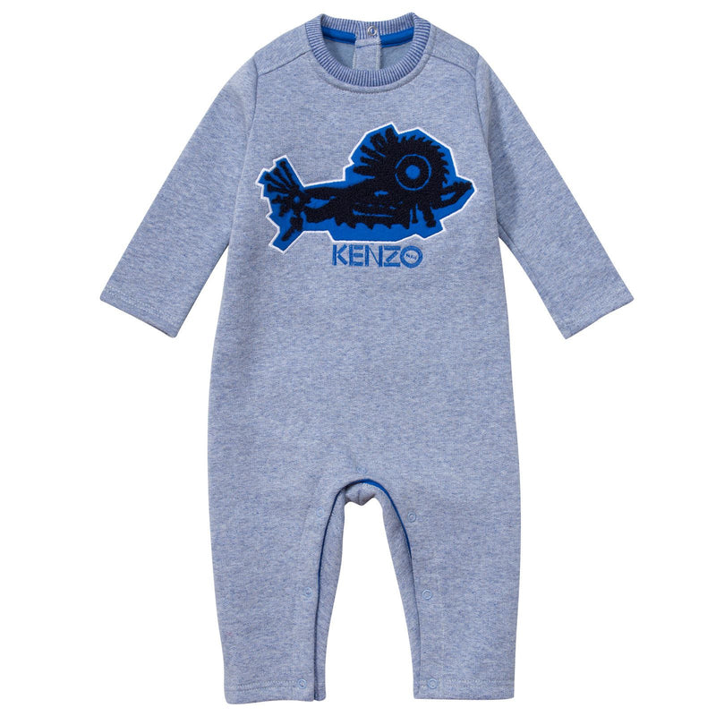 Baby Boys Blue Mechanical Monster Embroidered Babygrow - CÉMAROSE | Children's Fashion Store - 1