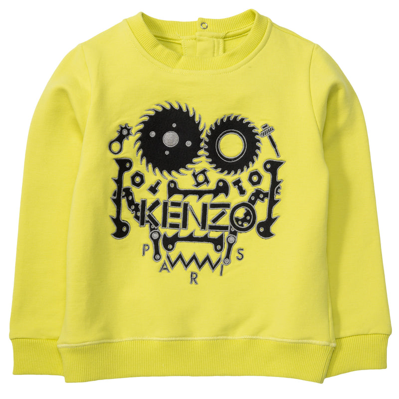 Baby Boys Lime Green Monster Embroidered Sweatshirt - CÉMAROSE | Children's Fashion Store - 1