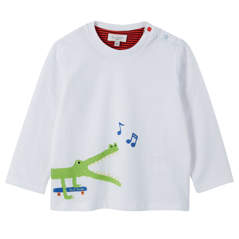 Baby Boys White Crocodile Printed Cotton T-Shirt - CÉMAROSE | Children's Fashion Store - 1