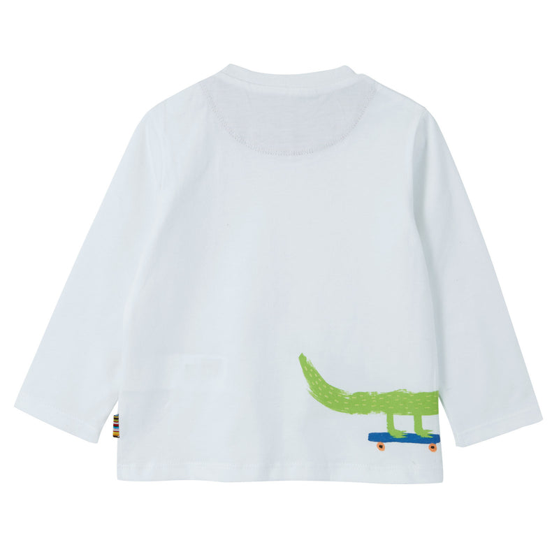 Baby Boys White Crocodile Printed Cotton T-Shirt - CÉMAROSE | Children's Fashion Store - 2