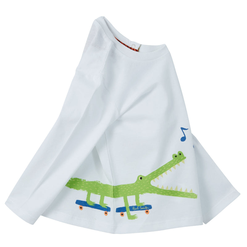 Baby Boys White Crocodile Printed Cotton T-Shirt - CÉMAROSE | Children's Fashion Store - 3