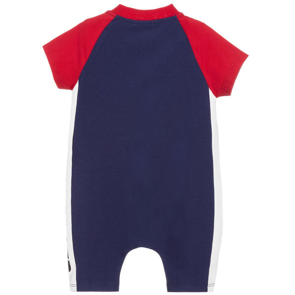 Baby Boys Blue Cotton Babysuit