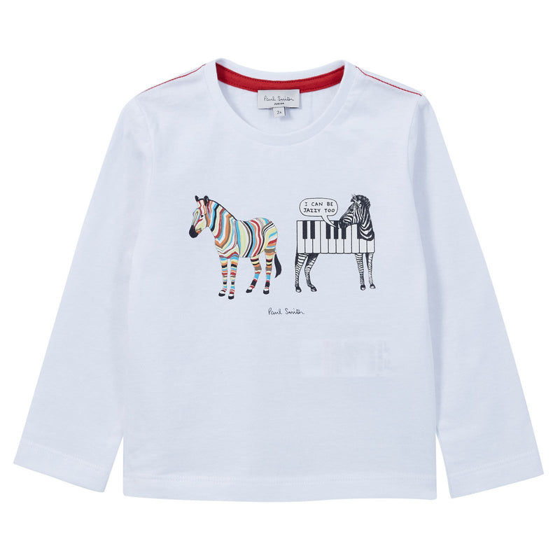 Boys White Cotton Jersey Zebra Printed T-Shirt - CÉMAROSE | Children's Fashion Store - 1