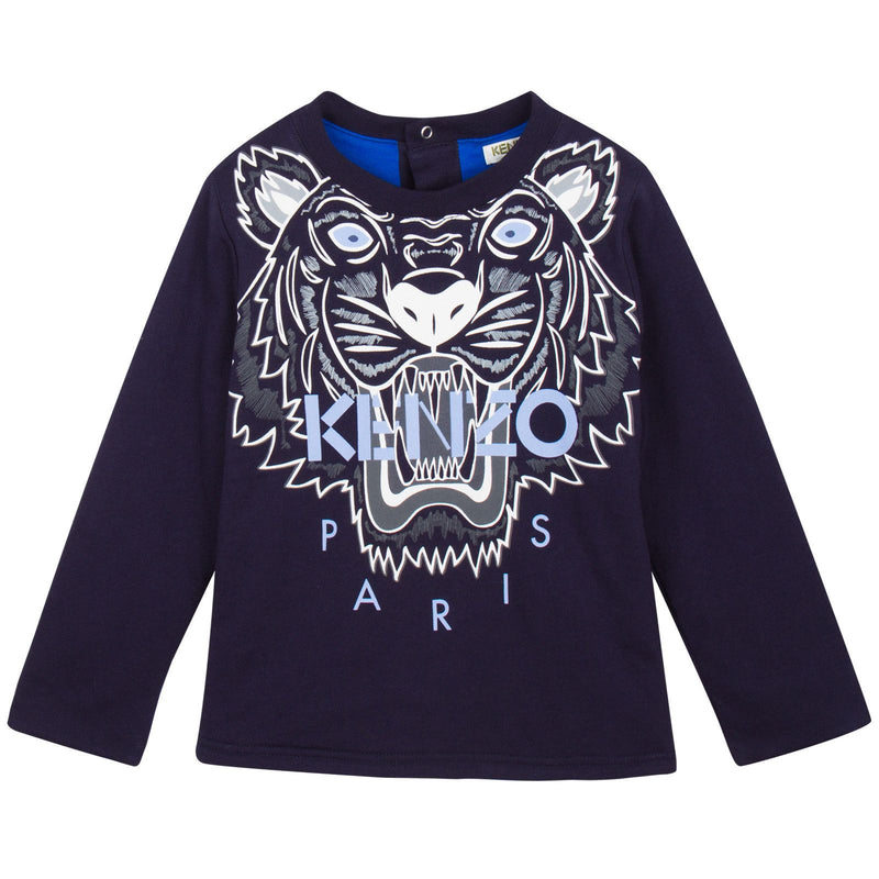 Baby Navy Blue Tiger Embroidered Sweatshirt With Blue Lining - CÉMAROSE | Children's Fashion Store - 1