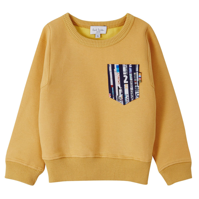 Boys Mustard Yellow Sweater With Stripe Patch Pockets - CÉMAROSE | Children's Fashion Store - 1