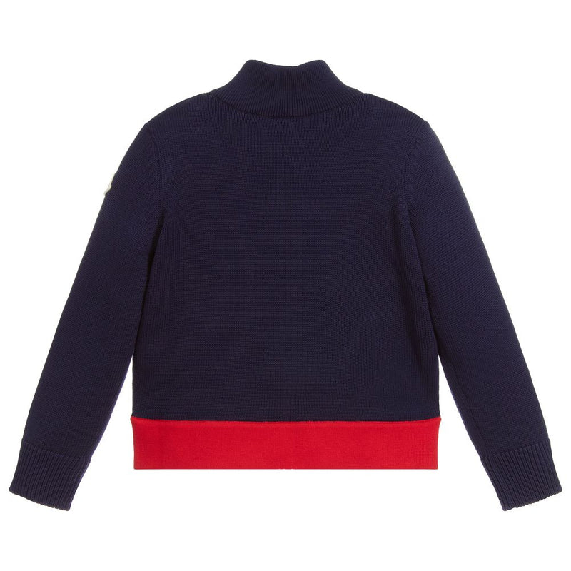 Boys Navy Knit Zip-Up Cardigan