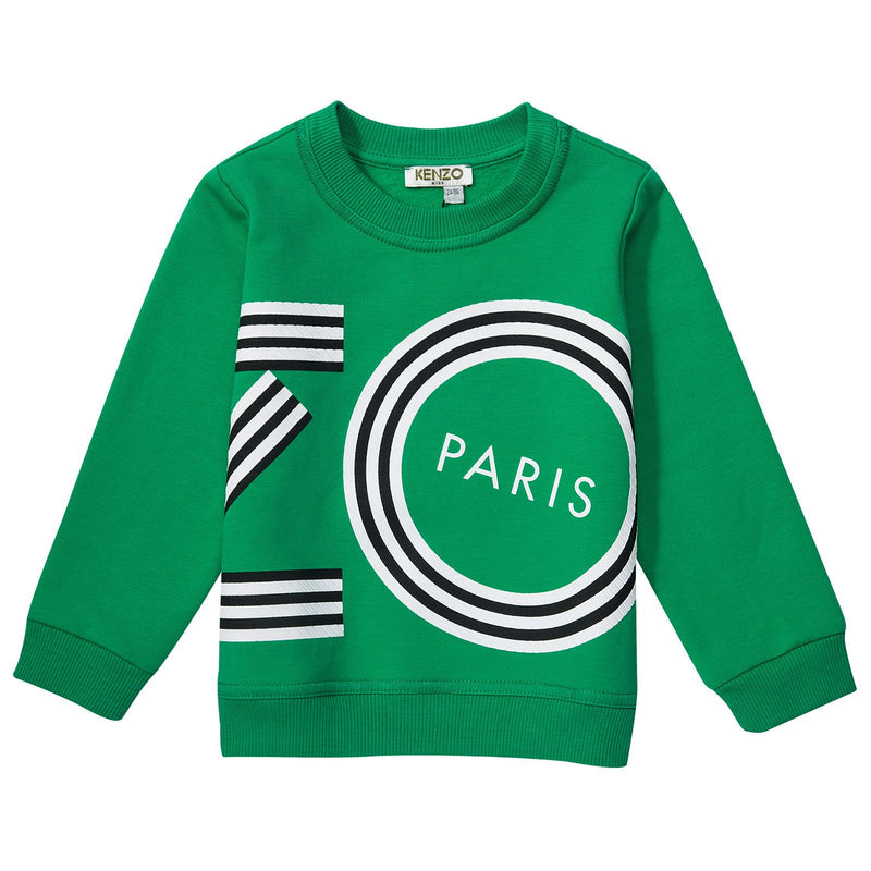 Boys&Girls Bright Green Printed Logo Sweatshirt - CÉMAROSE | Children's Fashion Store - 1