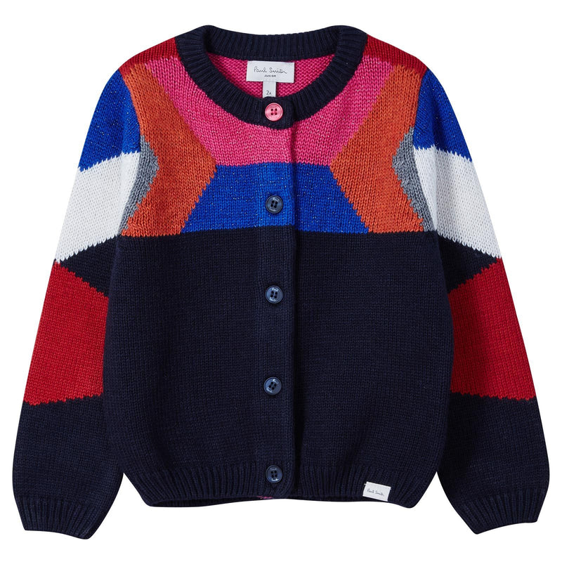 Girls Navy Blue&Colour Block Knitted Cardigan - CÉMAROSE | Children's Fashion Store - 1