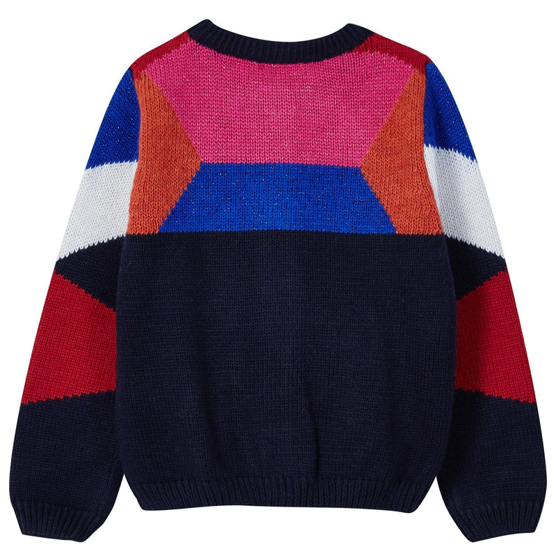 Girls Navy Blue&Colour Block Knitted Cardigan - CÉMAROSE | Children's Fashion Store - 2